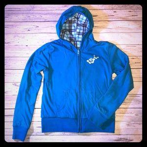 Reversible plaid hoodie jacket.